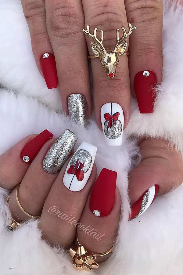 Glam Nail Design with Christmas Baubles
