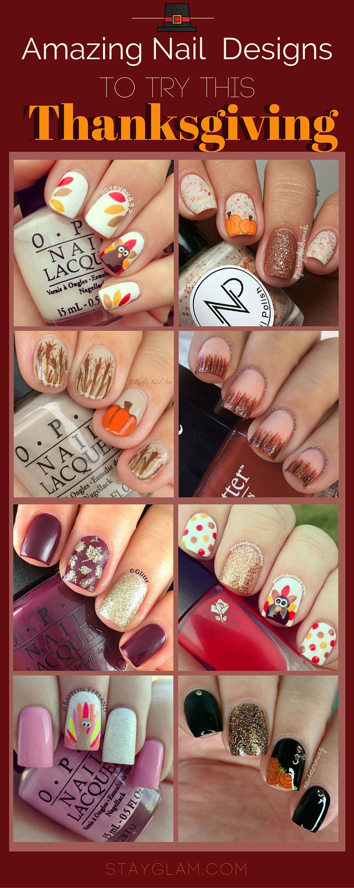 21 amazing thanksgiving nail art ideas stayglam thanksgiving nail art designs prinsesfo Image collections