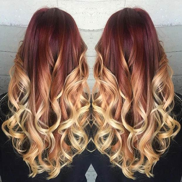 Red  Blonde Balayage Hair. Instagram / butterflyloftsalon