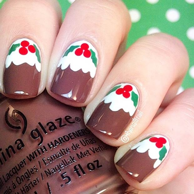 Christmas Puddings Nail Art
