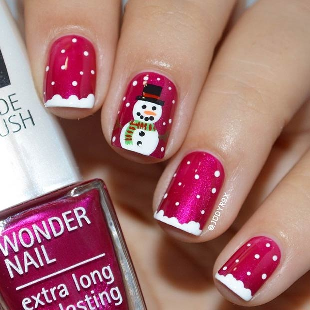 31 cute winter inspired nail art designs stayglam red nails with a snowman instagram judyrox prinsesfo Images