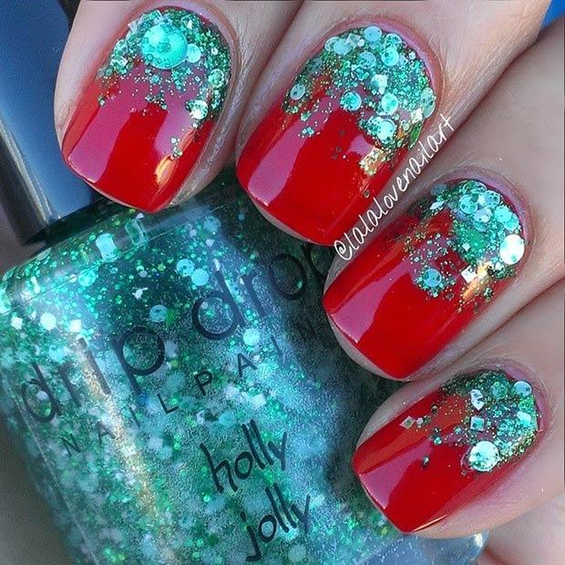 GreenGlitter Gradient Nails