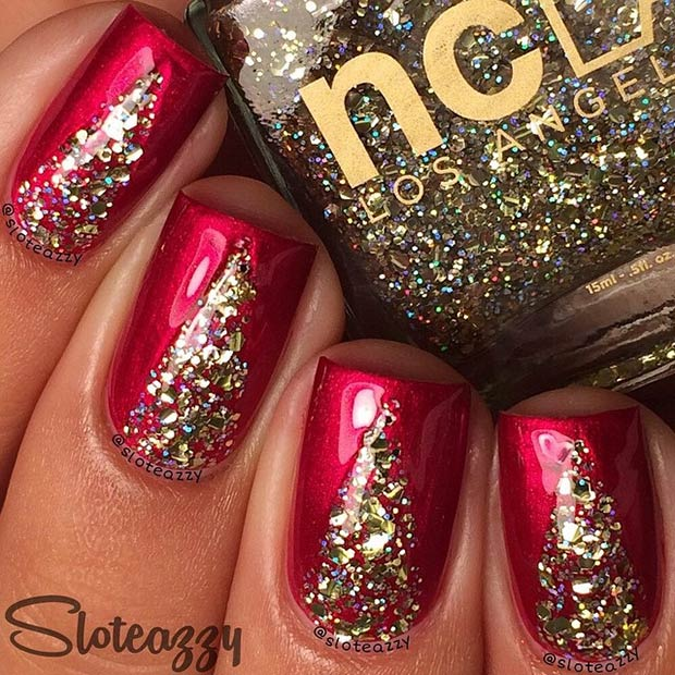 Sparkly Red & Gold Nail Design