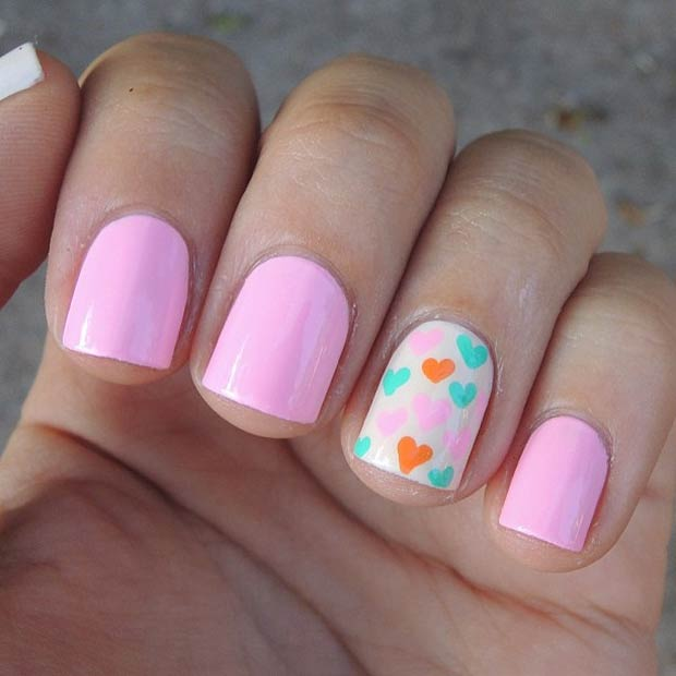 Colorful Hearts Accent Nail for Valentines Day