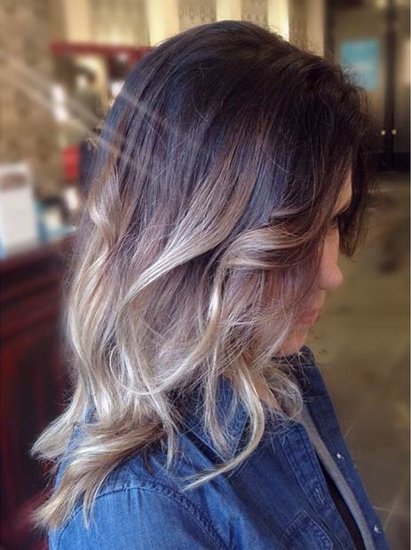 Dark Brown Roots and Silver Blonde Highlights