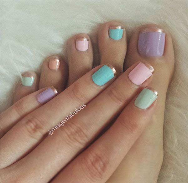Matching Pastel Pedicure and Manicure