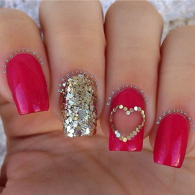 Gold Red Design And Valentines Day Nails