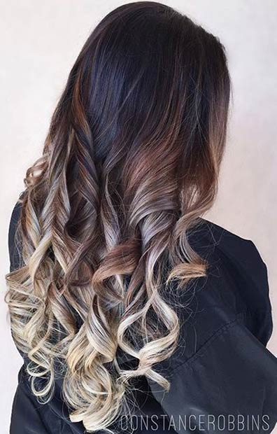 Mocha and Ice Tone Balayage Highlights