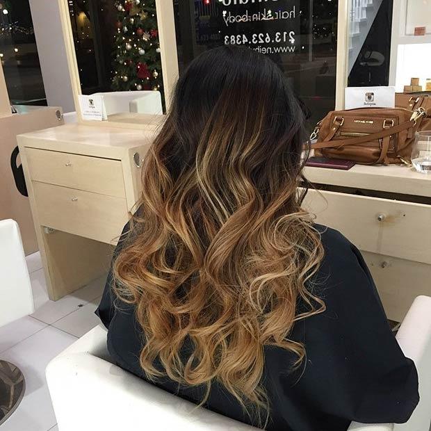 Dark Brown Hair And Caramel Balayage Highlights