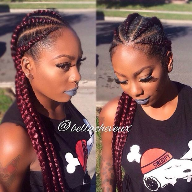 Simple Burgundy Cornrow Style