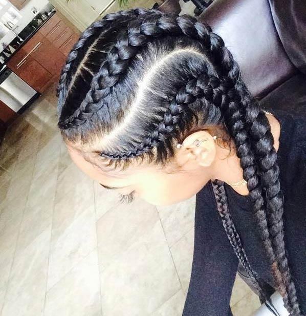 Jumbo Cornrows With Weave