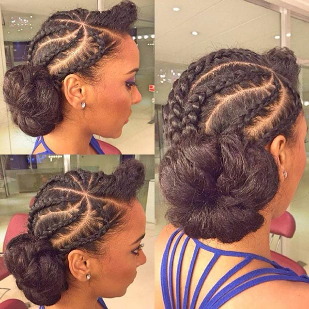 how to make ponytail of straight brazilian weave : Jumbo Cornrow Bun 31 stylish ways to rock cornrows stayglam