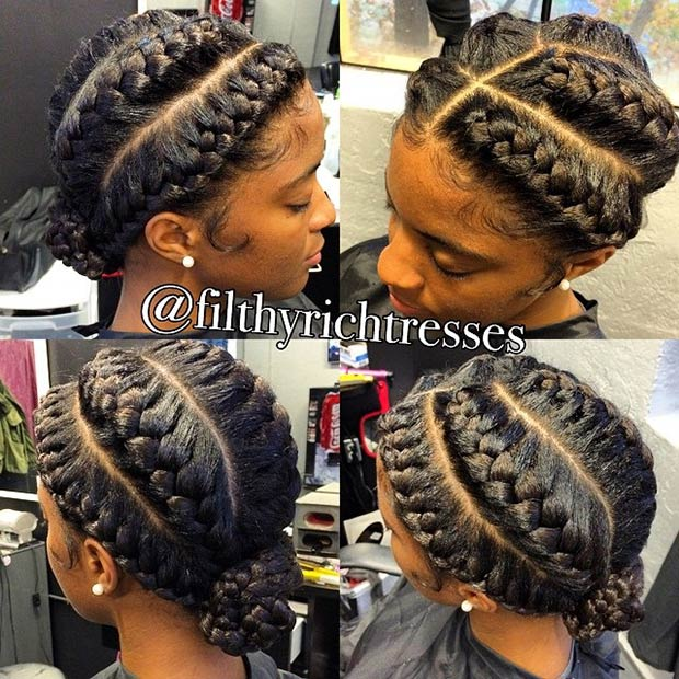 Five Goddess Braids into a Bun