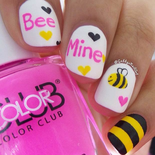 35 cute valentines day nail art designs page 2 of 3 stayglam cute bee mine design prinsesfo Choice Image