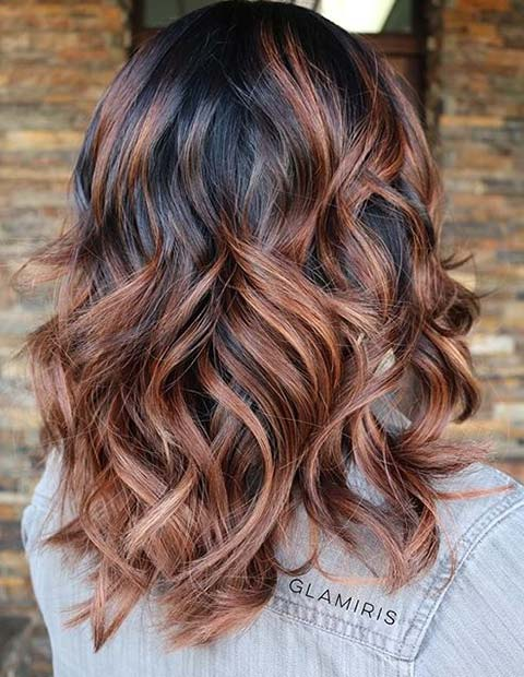 Copper Caramel Balayage Highlights