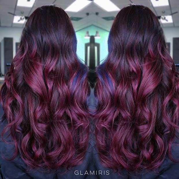 Dark Red Balayage Hair Look