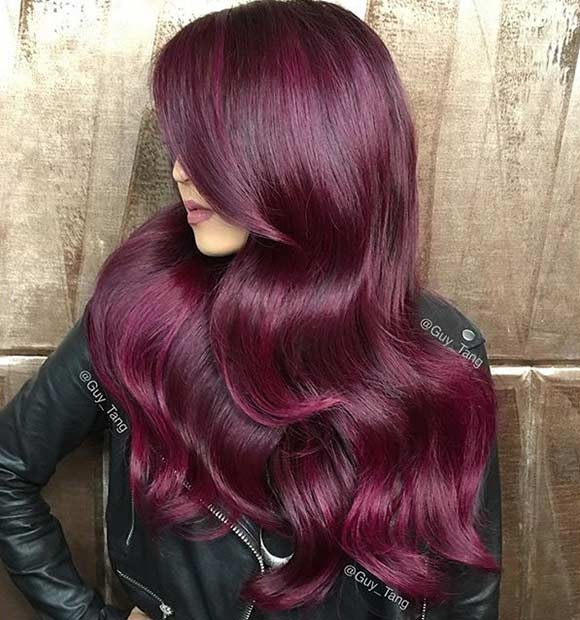 Dark Red Hair Color on Long Hair