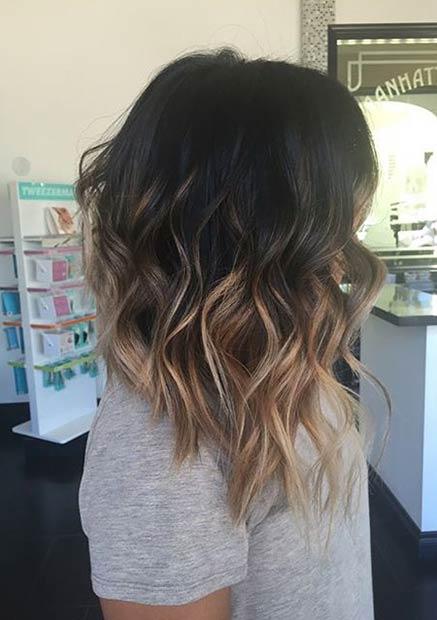 Bangs further Hairstyles Medium Length Hair besides Balayage Long Bob ...