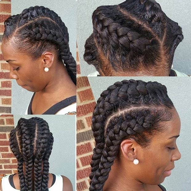 Black Braids Hairstyles blonde cornrows for black hair Braided To The Back Goddess Braids