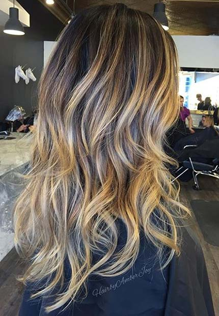 Honey Beige Balayage Highlights