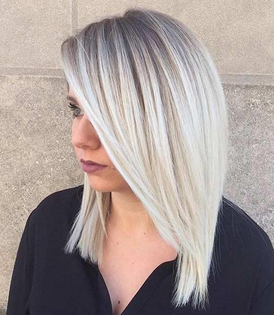 Ice Blonde Long Bob Hairstyle