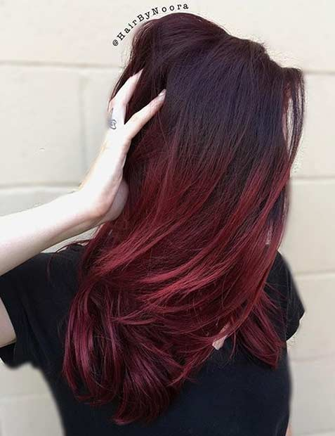 21 amazing dark red hair color ideas page 2 of 2 stayglam dark red roots and bight red ends urmus Images