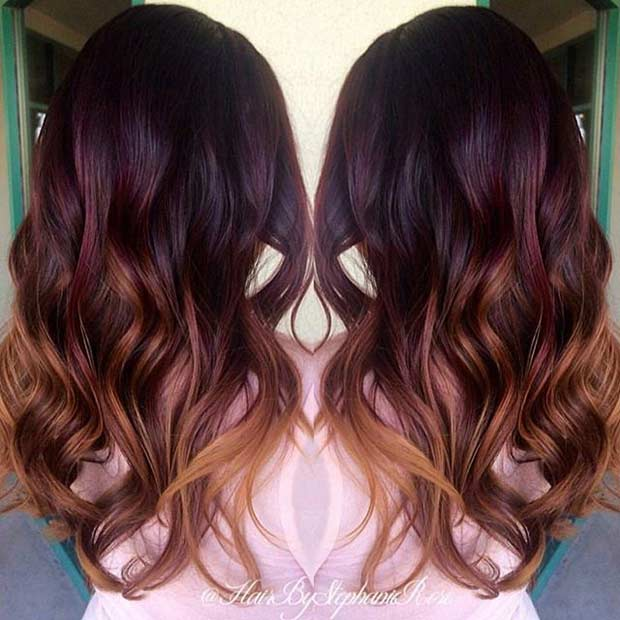 21 amazing dark red hair color ideas page 2 of 2 stayglam dark red to caramel ombre hair urmus Image collections