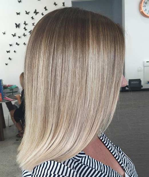 Soft and Sleek Blonde Lob Hairstyle