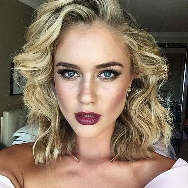 Curly Dark Blonde Long Bob Style