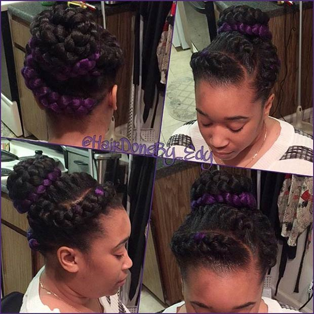 Goddess Braids with a Pop of Purple
