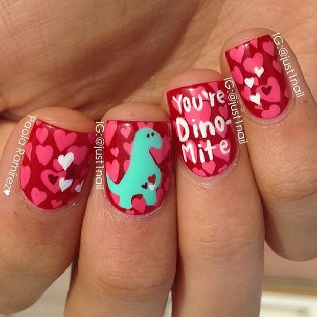 35 cute valentines day nail art designs page 2 of 3 stayglam cute dinosaur valentines day nails prinsesfo Images