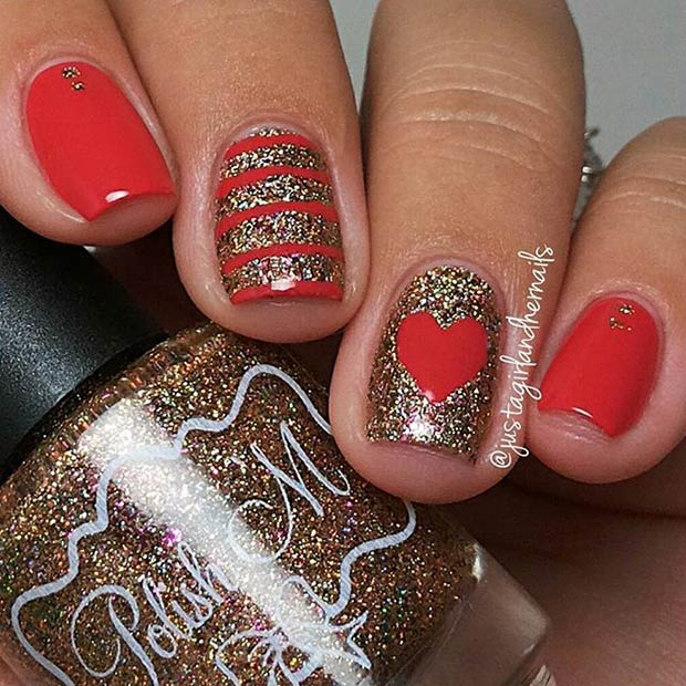 Red and Gold Glitter Valentines Day Nails - 35 Cute Valentine's Day Nail Art Designs Page 3 Of 3 StayGlam
