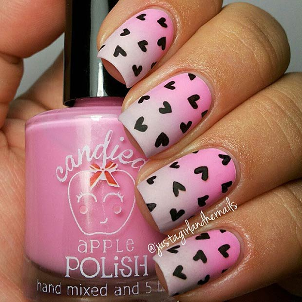 Ombre Nail Art Design with Hearts - 35 Cute Valentine's Day Nail Art Designs StayGlam