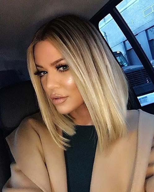 Khloe Kardashian Blonde Long Bob Style