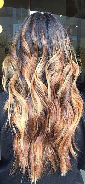 Warm brown and Golden Blonde Highlights