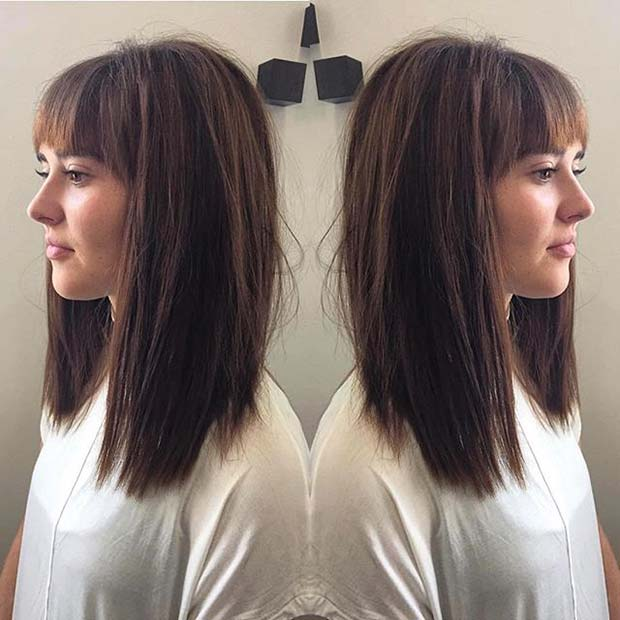 Dark Brown Lob with Bangs