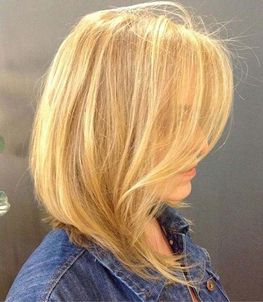 Soft A Lined Blonde Lob Haircut