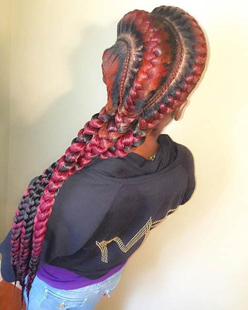 Black and Red Goddess Braids