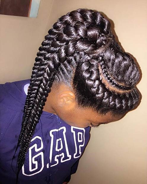 Goddess Braids into a High Ponytail