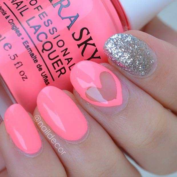 Easy Pink Valentines Day Nails