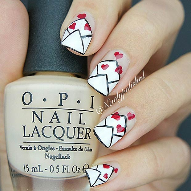 Love Letters Design. Love Letters Valentines Day Nails
