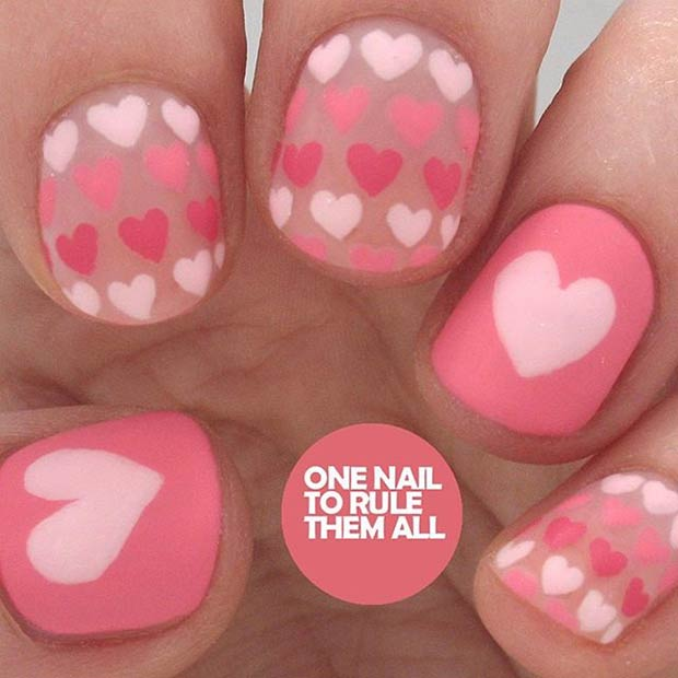 35 cute valentines day nail art designs stayglam matte valentines day nail design prinsesfo Images
