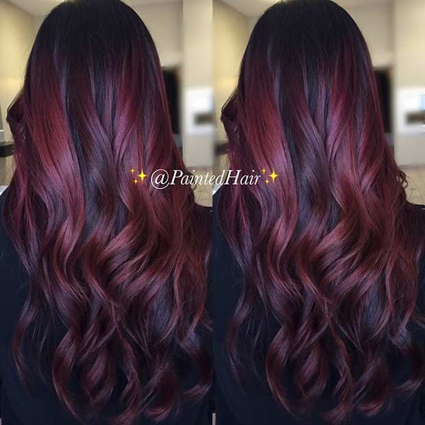 Dark Red Hair With Subtle Bright Highlights