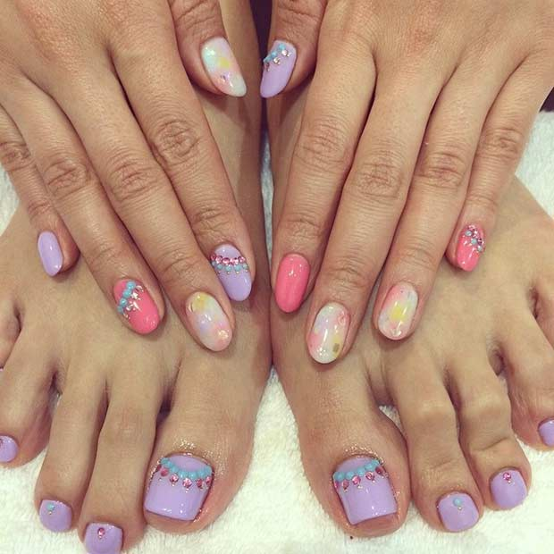 Pastel Pedicure Design for Spring and Summer