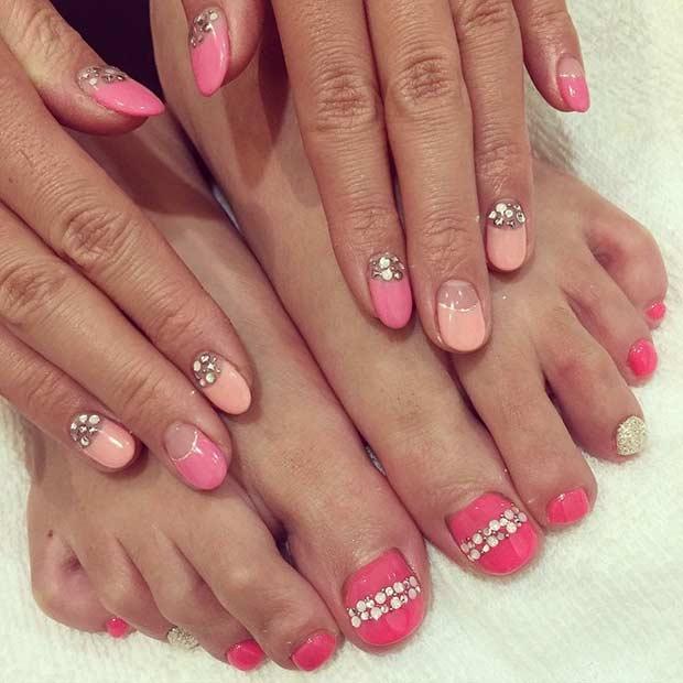 Pink Pedicure with Rhinestones