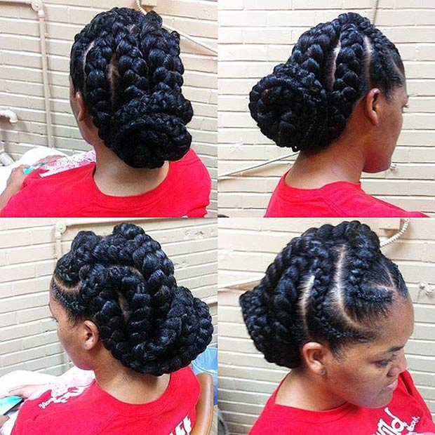 Curved Goddess Braids Updo