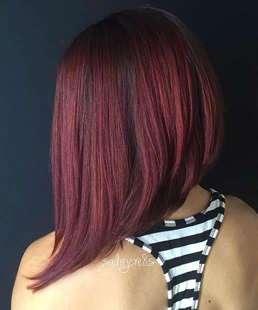 Dark Red Asymmetrical Bob Hairstyle