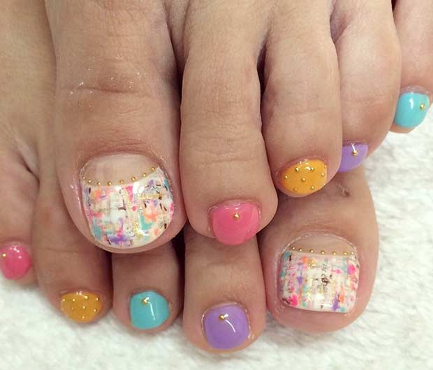 Colorful Pedicure Design for Summer