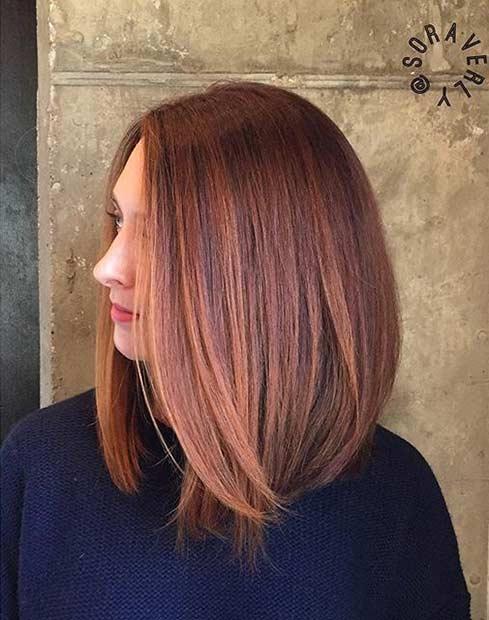Sleek Copper Long Bob Haircut