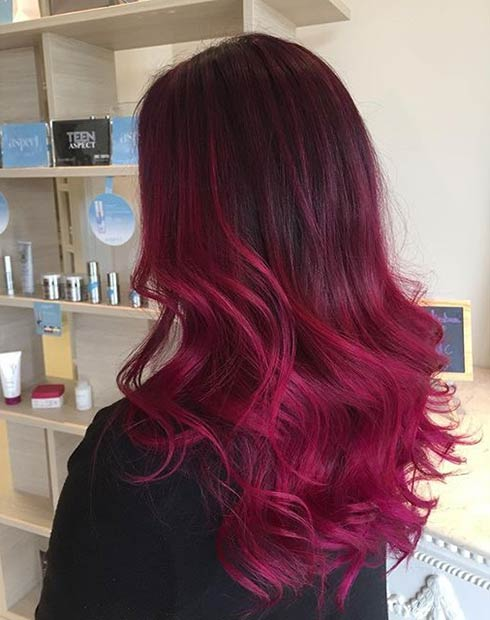 Burgundy To Bright Red Ombre